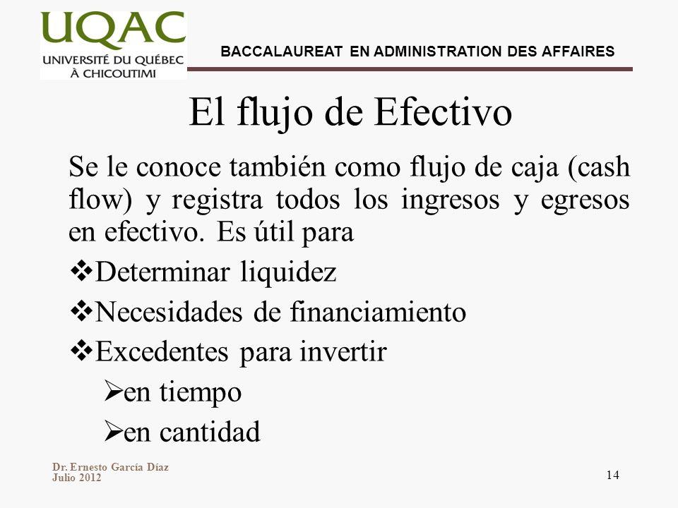 Dr. Ernesto García Díaz Julio 2012 BACCALAUREAT EN ADMINISTRATION DES AFFAIRES 14 El flujo de Efectivo Se le conoce también como flujo de caja (cash f