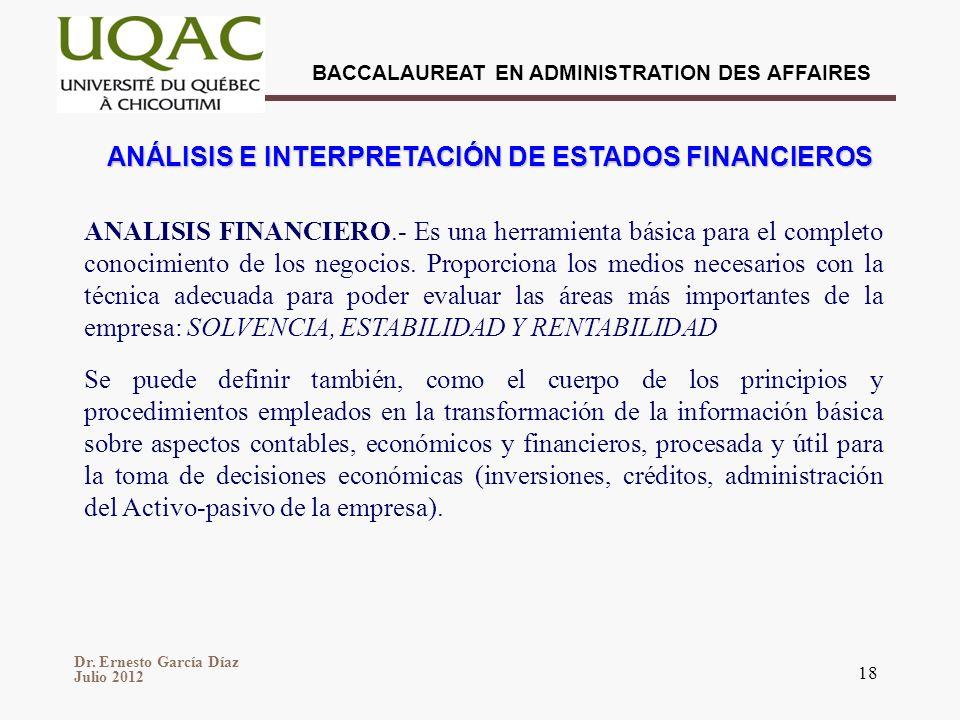 Dr. Ernesto García Díaz Julio 2012 BACCALAUREAT EN ADMINISTRATION DES AFFAIRES 18 ANÁLISIS E INTERPRETACIÓN DE ESTADOS FINANCIEROS ANALISIS FINANCIERO