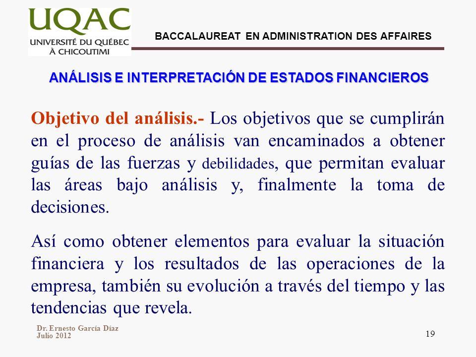 Dr. Ernesto García Díaz Julio 2012 BACCALAUREAT EN ADMINISTRATION DES AFFAIRES 19 ANÁLISIS E INTERPRETACIÓN DE ESTADOS FINANCIEROS Objetivo del anális