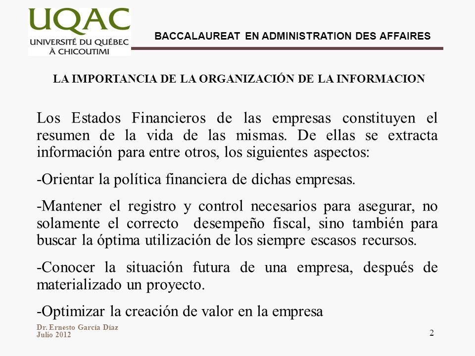 Dr. Ernesto García Díaz Julio 2012 BACCALAUREAT EN ADMINISTRATION DES AFFAIRES 2 Los Estados Financieros de las empresas constituyen el resumen de la