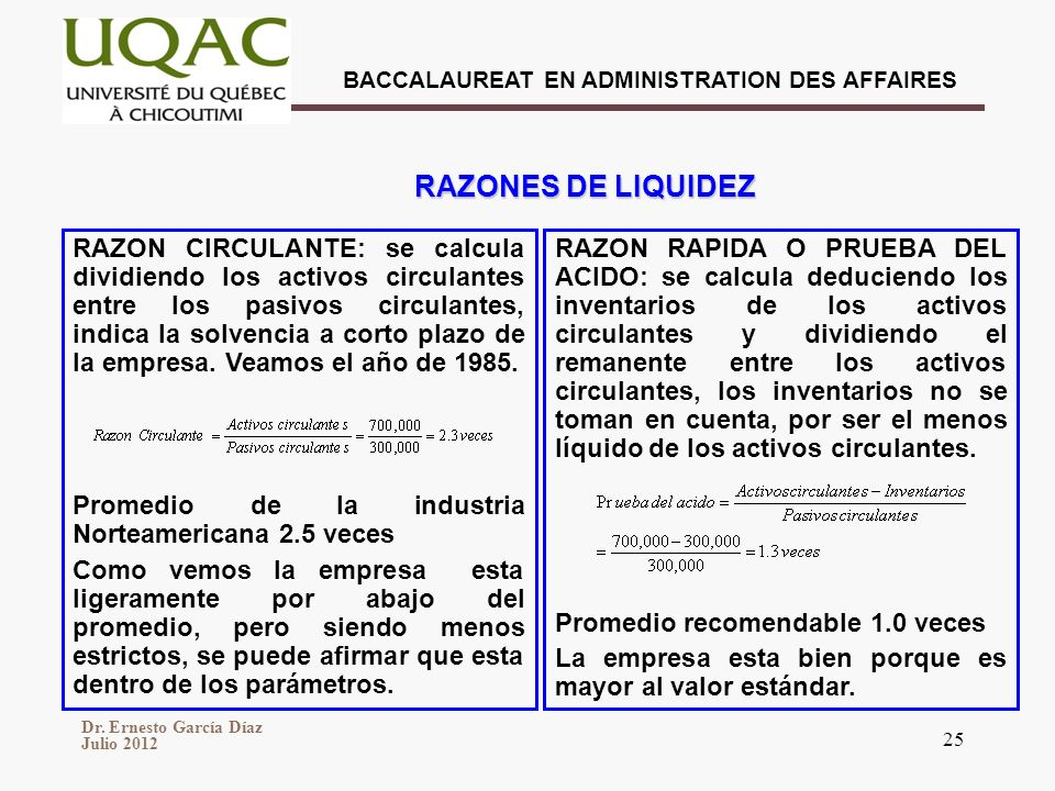 Dr. Ernesto García Díaz Julio 2012 BACCALAUREAT EN ADMINISTRATION DES AFFAIRES 25 RAZON CIRCULANTE: se calcula dividiendo los activos circulantes entr
