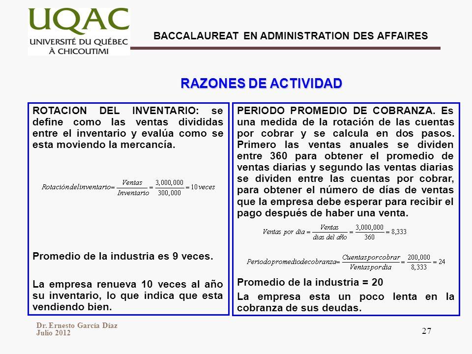 Dr. Ernesto García Díaz Julio 2012 BACCALAUREAT EN ADMINISTRATION DES AFFAIRES 27 ROTACION DEL INVENTARIO: se define como las ventas divididas entre e