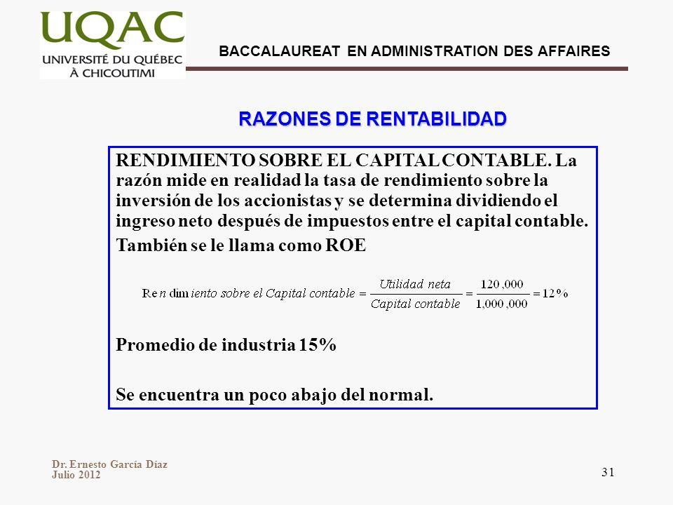 Dr. Ernesto García Díaz Julio 2012 BACCALAUREAT EN ADMINISTRATION DES AFFAIRES 31 RAZONES DE RENTABILIDAD RENDIMIENTO SOBRE EL CAPITAL CONTABLE. La ra