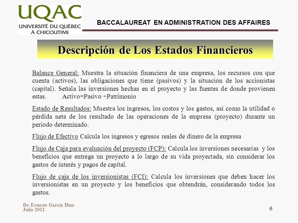 Dr. Ernesto García Díaz Julio 2012 BACCALAUREAT EN ADMINISTRATION DES AFFAIRES 6 Balance General: Muestra la situación financiera de una empresa, los