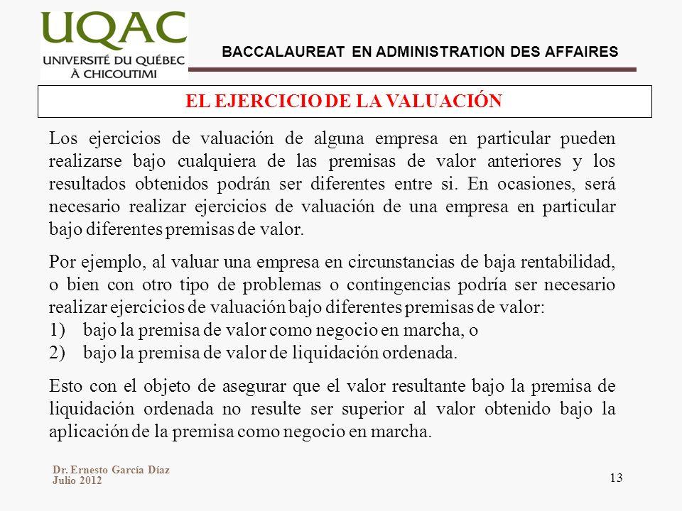 Dr. Ernesto García Díaz Julio 2012 BACCALAUREAT EN ADMINISTRATION DES AFFAIRES 13 EL EJERCICIO DE LA VALUACIÓN Los ejercicios de valuación de alguna e