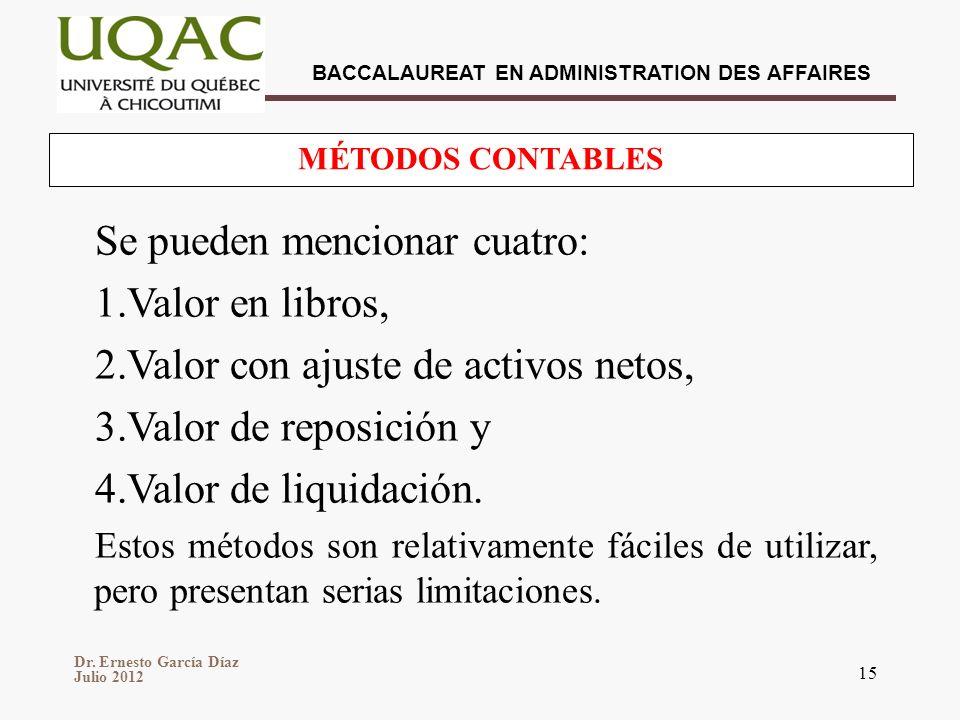 Dr. Ernesto García Díaz Julio 2012 BACCALAUREAT EN ADMINISTRATION DES AFFAIRES 15 Se pueden mencionar cuatro: 1.Valor en libros, 2.Valor con ajuste de