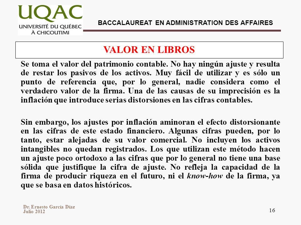 Dr. Ernesto García Díaz Julio 2012 BACCALAUREAT EN ADMINISTRATION DES AFFAIRES 16 Se toma el valor del patrimonio contable. No hay ningún ajuste y res