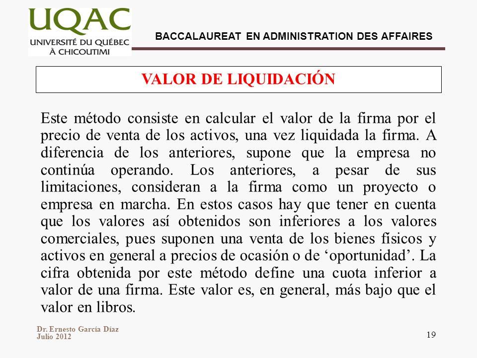 Dr. Ernesto García Díaz Julio 2012 BACCALAUREAT EN ADMINISTRATION DES AFFAIRES 19 Este método consiste en calcular el valor de la firma por el precio