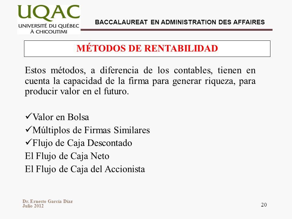 Dr. Ernesto García Díaz Julio 2012 BACCALAUREAT EN ADMINISTRATION DES AFFAIRES 20 Estos métodos, a diferencia de los contables, tienen en cuenta la ca