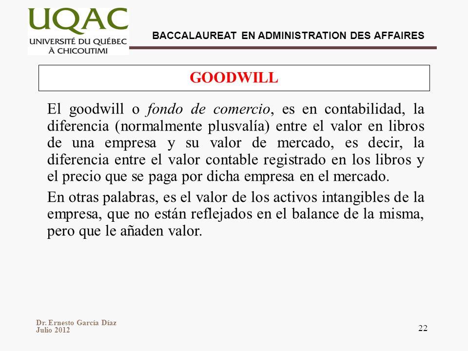 Dr. Ernesto García Díaz Julio 2012 BACCALAUREAT EN ADMINISTRATION DES AFFAIRES 22 El goodwill o fondo de comercio, es en contabilidad, la diferencia (