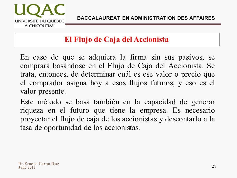 Dr. Ernesto García Díaz Julio 2012 BACCALAUREAT EN ADMINISTRATION DES AFFAIRES 27 En caso de que se adquiera la firma sin sus pasivos, se comprará bas