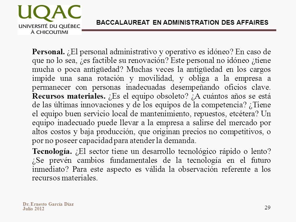 Dr. Ernesto García Díaz Julio 2012 BACCALAUREAT EN ADMINISTRATION DES AFFAIRES 29 Personal. ¿El personal administrativo y operativo es idóneo? En caso