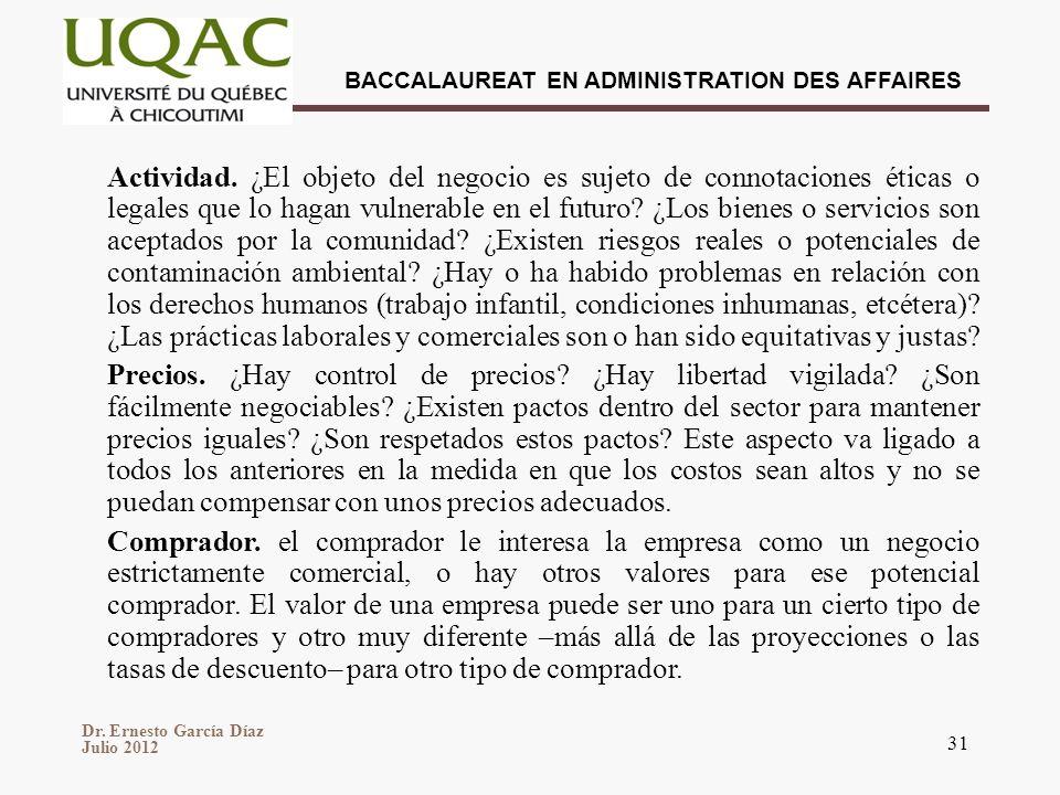 Dr. Ernesto García Díaz Julio 2012 BACCALAUREAT EN ADMINISTRATION DES AFFAIRES 31 Actividad. ¿El objeto del negocio es sujeto de connotaciones éticas