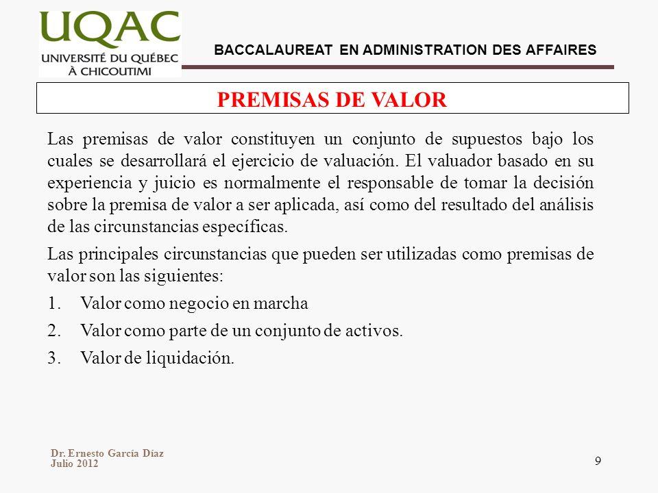 Dr. Ernesto García Díaz Julio 2012 BACCALAUREAT EN ADMINISTRATION DES AFFAIRES 9 PREMISAS DE VALOR Las premisas de valor constituyen un conjunto de su