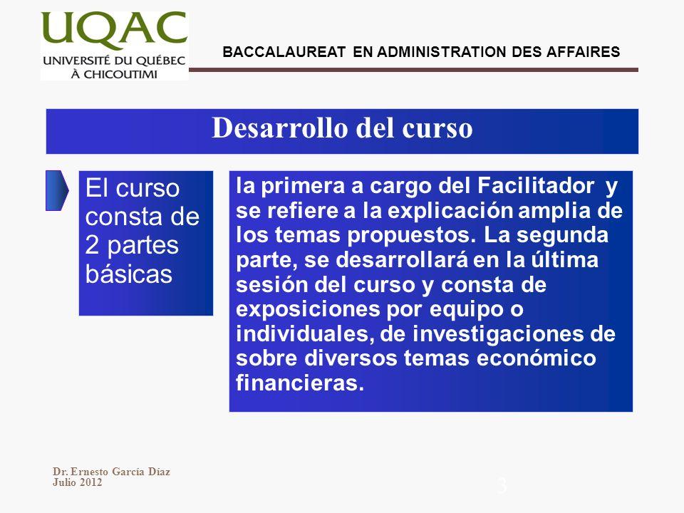 BACCALAUREAT EN ADMINISTRATION DES AFFAIRES Dr. Ernesto García Díaz Julio 2012 3 Desarrollo del curso El curso consta de 2 partes básicas la primera a