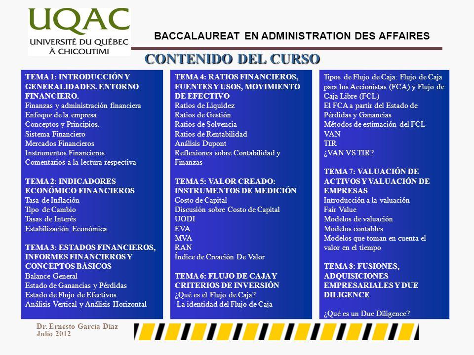 BACCALAUREAT EN ADMINISTRATION DES AFFAIRES Dr. Ernesto García Díaz Julio 2012 4 CONTENIDO DEL CURSO TEMA 1: INTRODUCCIÓN Y GENERALIDADES. ENTORNO FIN
