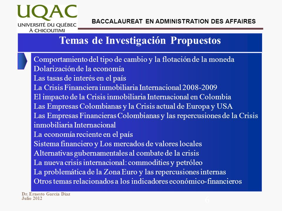 BACCALAUREAT EN ADMINISTRATION DES AFFAIRES Dr. Ernesto García Díaz Julio 2012 6 Temas de Investigación Propuestos Comportamiento del tipo de cambio y
