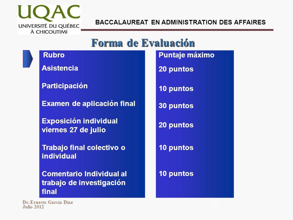 BACCALAUREAT EN ADMINISTRATION DES AFFAIRES Dr. Ernesto García Díaz Julio 2012 7 Forma de Evaluación Rubro Asistencia Participación Examen de aplicaci