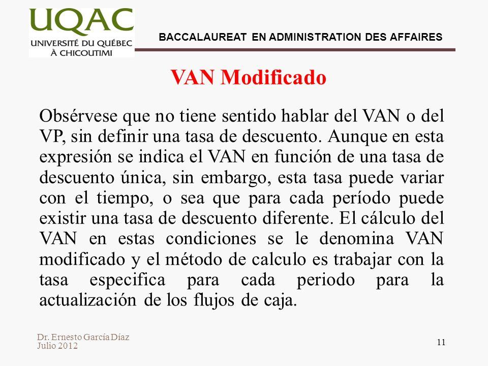 Dr. Ernesto García Díaz Julio 2012 BACCALAUREAT EN ADMINISTRATION DES AFFAIRES 11 VAN Modificado Obsérvese que no tiene sentido hablar del VAN o del V