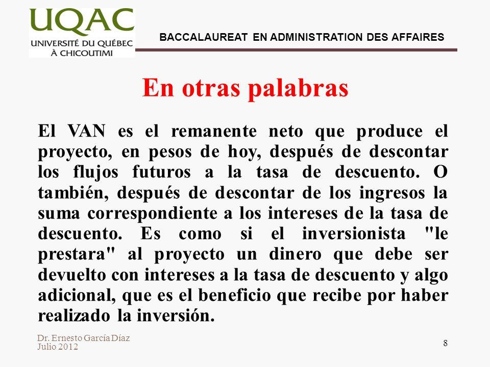 Dr. Ernesto García Díaz Julio 2012 BACCALAUREAT EN ADMINISTRATION DES AFFAIRES 8 En otras palabras El VAN es el remanente neto que produce el proyecto