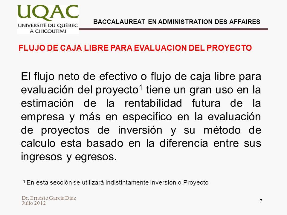 Dr. Ernesto García Díaz Julio 2012 BACCALAUREAT EN ADMINISTRATION DES AFFAIRES 18