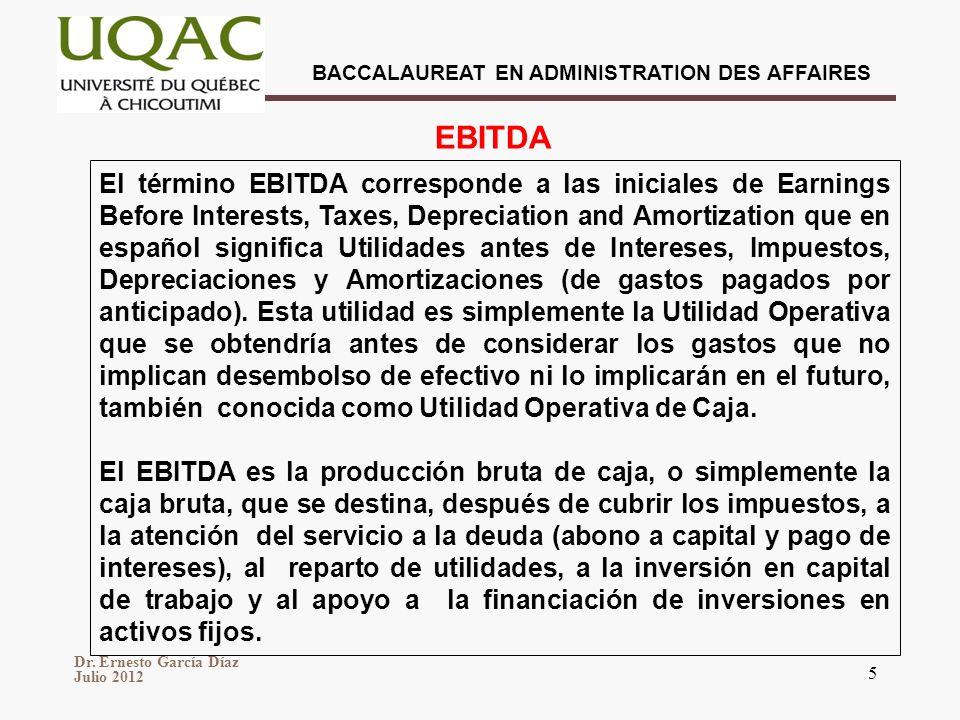 BACCALAUREAT EN ADMINISTRATION DES AFFAIRES Dr. Ernesto García Díaz Julio 2012 5 El término EBITDA corresponde a las iniciales de Earnings Before Inte