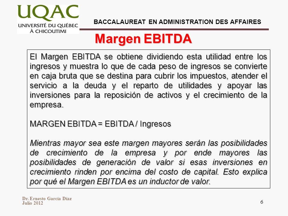BACCALAUREAT EN ADMINISTRATION DES AFFAIRES Dr. Ernesto García Díaz Julio 2012 6 El Margen EBITDA se obtiene dividiendo esta utilidad entre los ingres