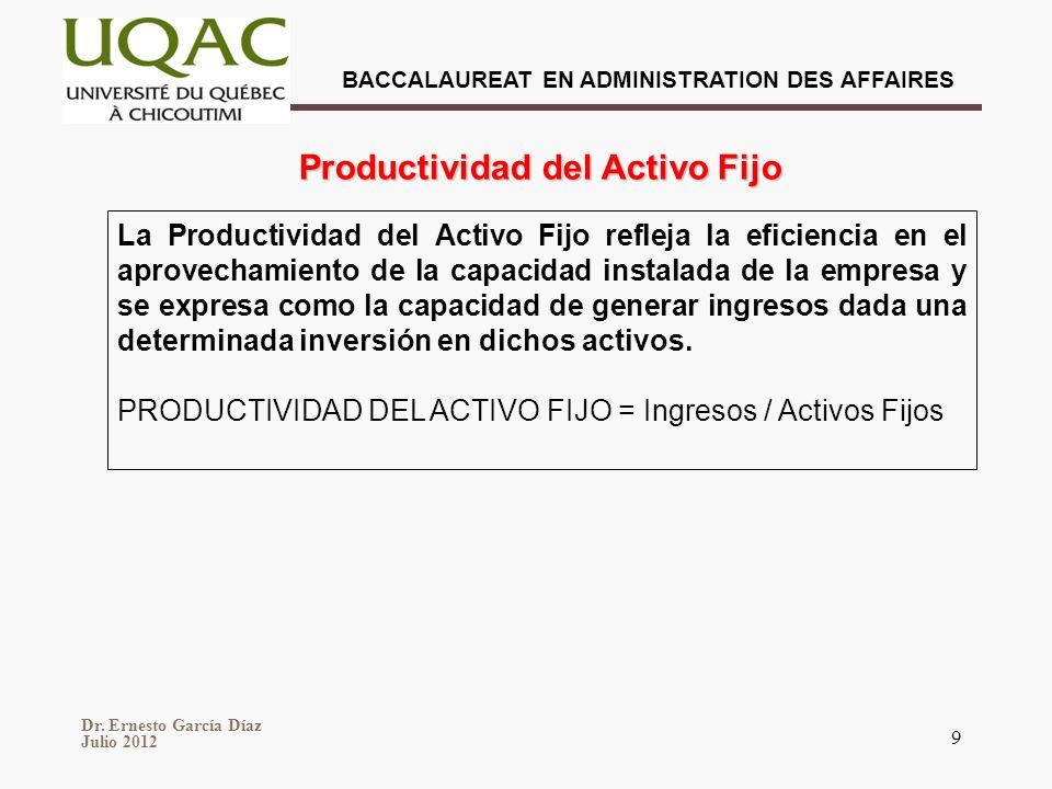 BACCALAUREAT EN ADMINISTRATION DES AFFAIRES Dr. Ernesto García Díaz Julio 2012 9 La Productividad del Activo Fijo refleja la eficiencia en el aprovech