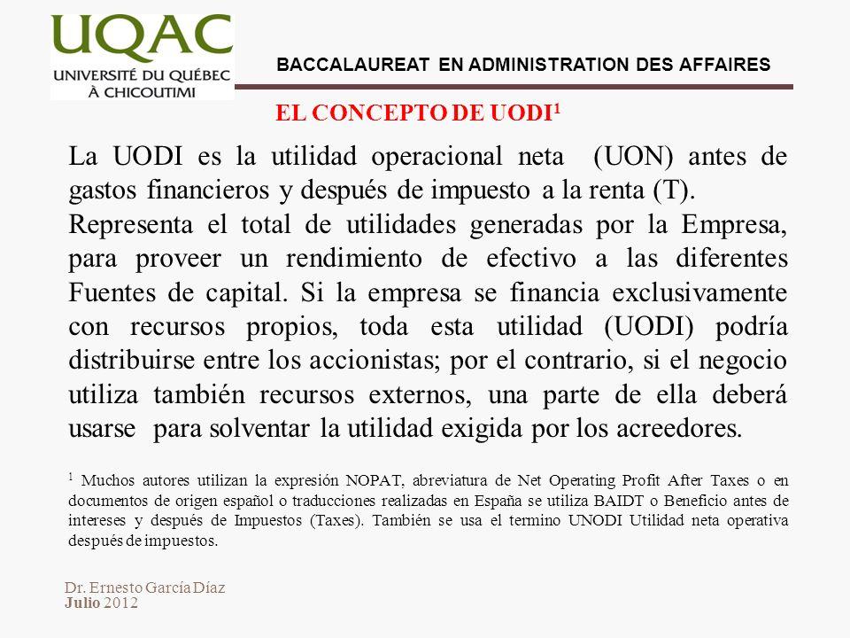 Dr. Ernesto García Díaz Julio 2012 BACCALAUREAT EN ADMINISTRATION DES AFFAIRES EL CONCEPTO DE UODI 1 La UODI es la utilidad operacional neta (UON) ant