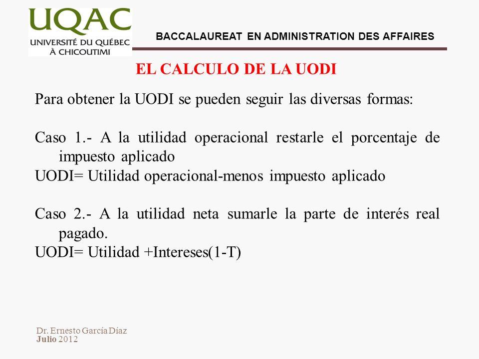 Dr. Ernesto García Díaz Julio 2012 BACCALAUREAT EN ADMINISTRATION DES AFFAIRES Para obtener la UODI se pueden seguir las diversas formas: Caso 1.- A l