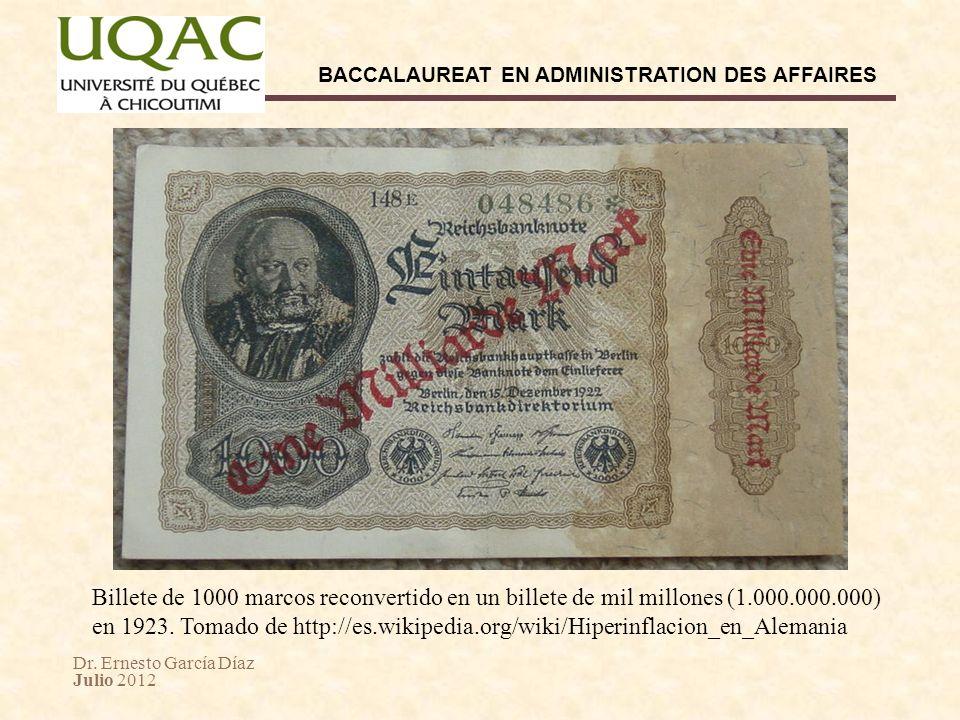 Dr. Ernesto García Díaz Julio 2012 BACCALAUREAT EN ADMINISTRATION DES AFFAIRES Billete de 1000 marcos reconvertido en un billete de mil millones (1.00