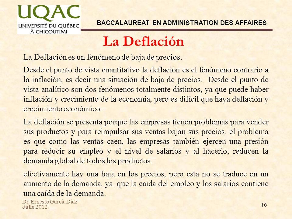 Dr. Ernesto García Díaz Julio 2012 BACCALAUREAT EN ADMINISTRATION DES AFFAIRES 16 La Deflación es un fenómeno de baja de precios. Desde el punto de vi