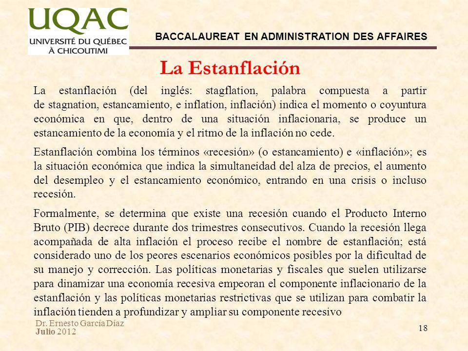 Dr. Ernesto García Díaz Julio 2012 BACCALAUREAT EN ADMINISTRATION DES AFFAIRES 18 La estanflación (del inglés: stagflation, palabra compuesta a partir