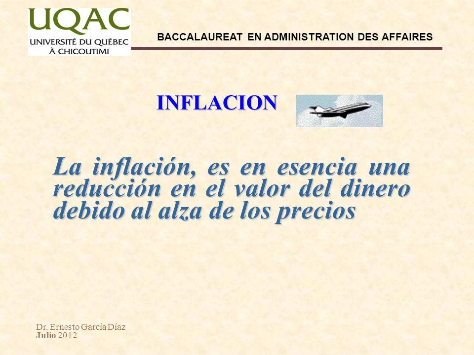 Dr. Ernesto García Díaz Julio 2012 BACCALAUREAT EN ADMINISTRATION DES AFFAIRES INFLACION La inflación, es en esencia una reducción en el valor del din