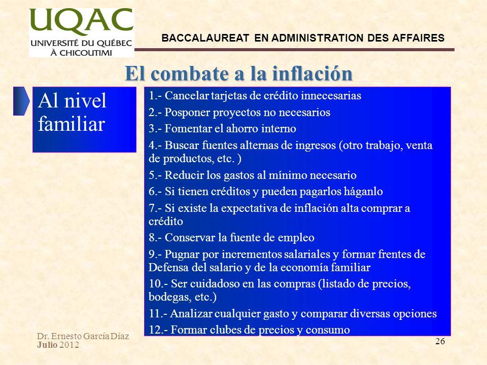 Dr. Ernesto García Díaz Julio 2012 BACCALAUREAT EN ADMINISTRATION DES AFFAIRES 26 El combate a la inflación Al nivel familiar 1.- Cancelar tarjetas de