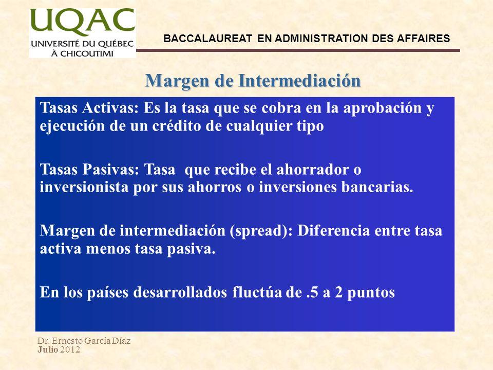 Dr. Ernesto García Díaz Julio 2012 BACCALAUREAT EN ADMINISTRATION DES AFFAIRES Margen de Intermediación Tasas Activas: Es la tasa que se cobra en la a