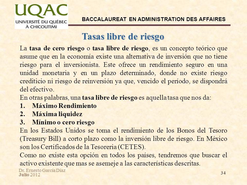 Dr. Ernesto García Díaz Julio 2012 BACCALAUREAT EN ADMINISTRATION DES AFFAIRES 34 Tasas libre de riesgo La tasa de cero riesgo o tasa libre de riesgo,
