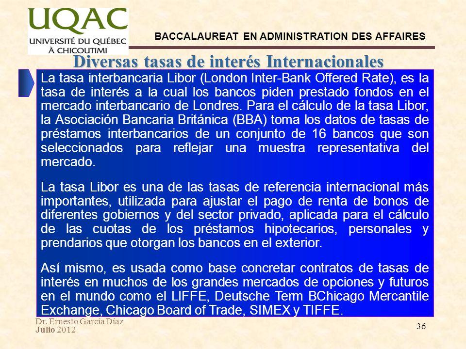 Dr. Ernesto García Díaz Julio 2012 BACCALAUREAT EN ADMINISTRATION DES AFFAIRES 36 Diversas tasas de interés Internacionales La tasa interbancaria Libo