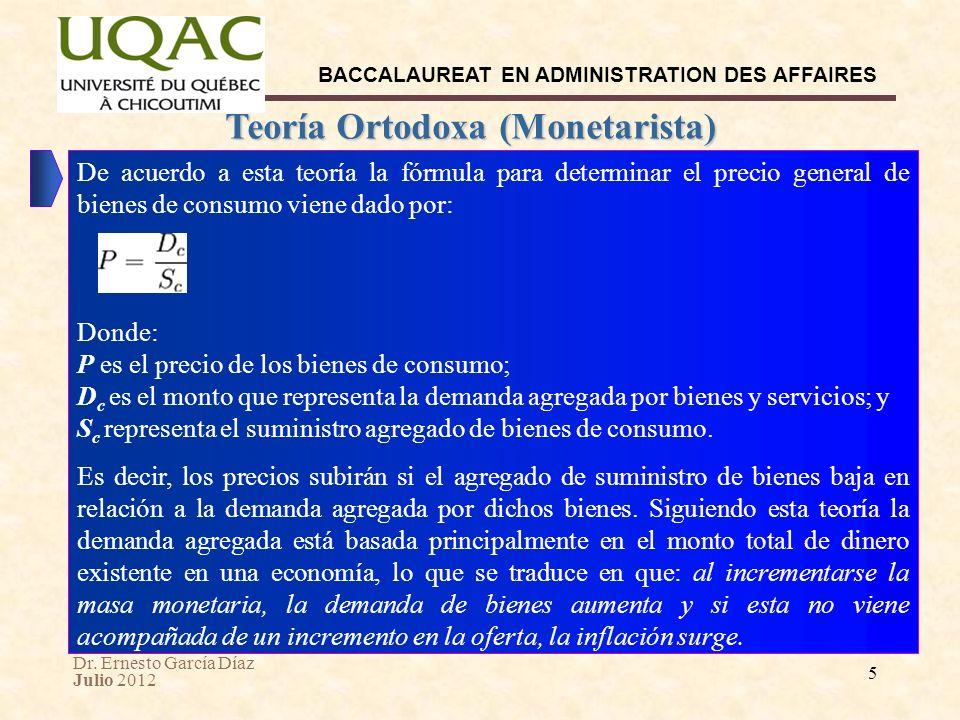 Dr. Ernesto García Díaz Julio 2012 BACCALAUREAT EN ADMINISTRATION DES AFFAIRES 5 Teoría Ortodoxa (Monetarista) De acuerdo a esta teoría la fórmula par