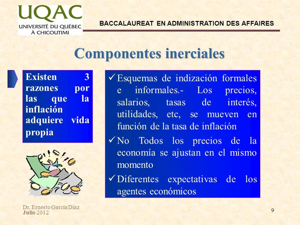 Dr. Ernesto García Díaz Julio 2012 BACCALAUREAT EN ADMINISTRATION DES AFFAIRES 9 Componentes inerciales Esquemas de indización formales e informales.-