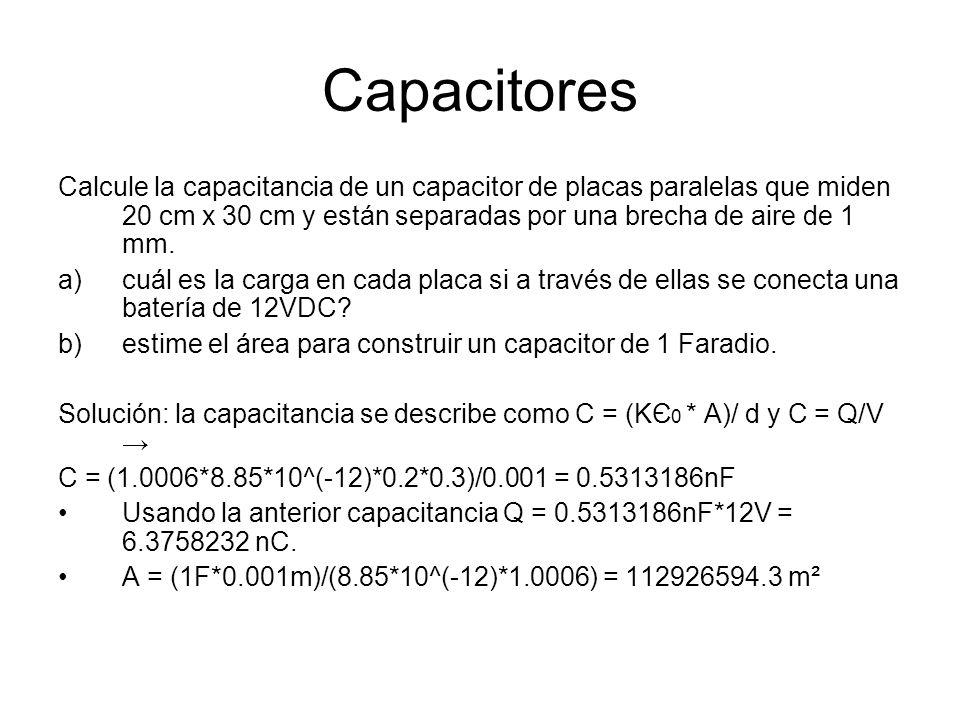 Capacitores Calcule la capacitancia de un capacitor de placas paralelas que miden 20 cm x 30 cm y están separadas por una brecha de aire de 1 mm. a)cu