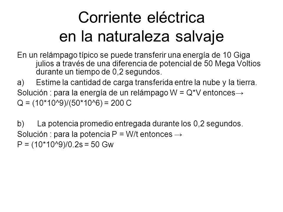 Corriente eléctrica en la naturaleza salvaje En un relámpago típico se puede transferir una energía de 10 Giga julios a través de una diferencia de po