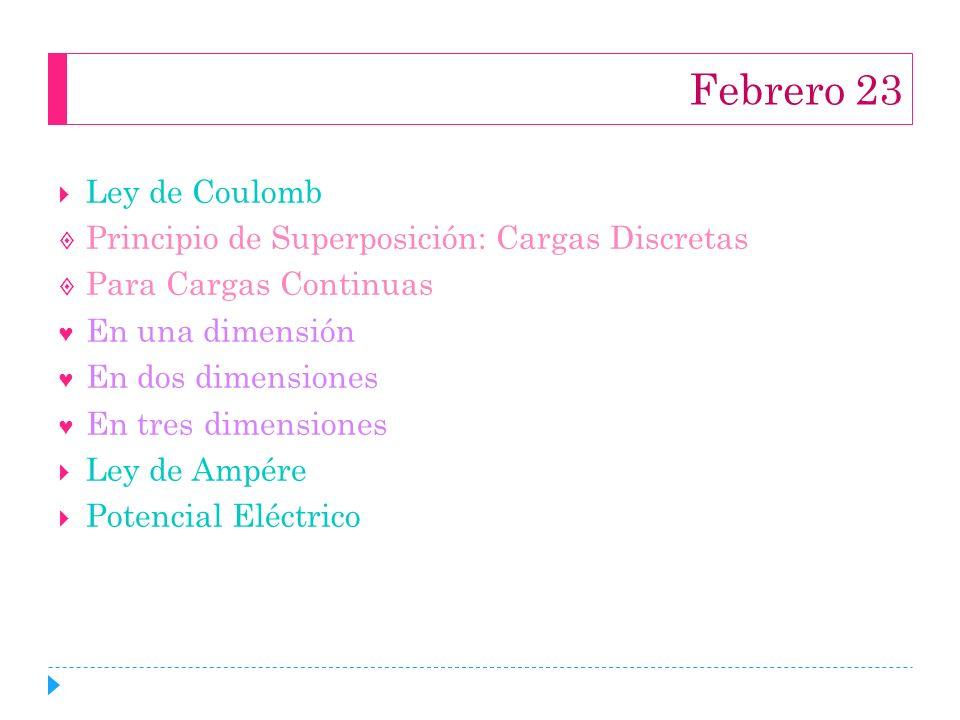 Febrero 23 Ley de Coulomb Principio de Superposición: Cargas Discretas Para Cargas Continuas En una dimensión En dos dimensiones En tres dimensiones L