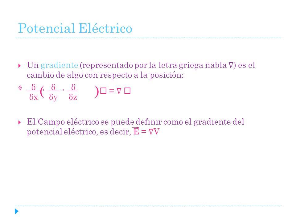 Potencial Eléctrico Un gradiente (representado por la letra griega nabla ) es el cambio de algo con respecto a la posición: δ, δ, δ i δx δy δz El Camp