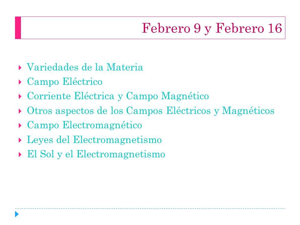 Febrero 9 y Febrero 16 Variedades de la Materia Campo Eléctrico Corriente Eléctrica y Campo Magnético Otros aspectos de los Campos Eléctricos y Magnét