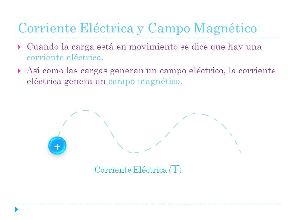 Corriente Eléctrica y Campo Magnético Cuando la carga está en movimiento se dice que hay una corriente eléctrica. Así como las cargas generan un campo