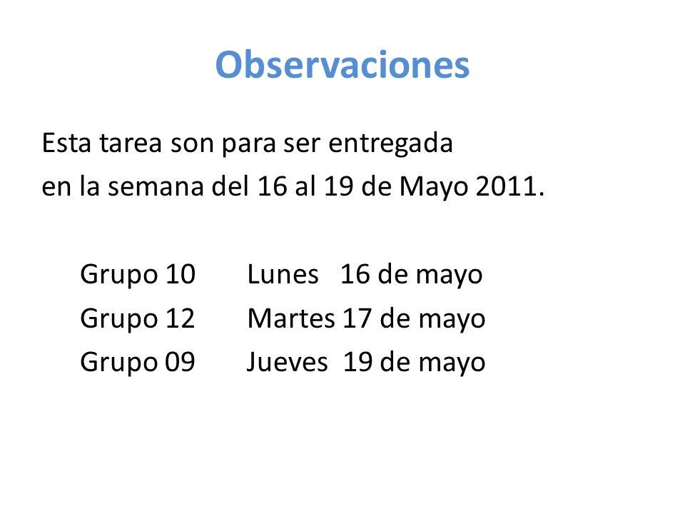 Observaciones Esta tarea son para ser entregada en la semana del 16 al 19 de Mayo 2011.