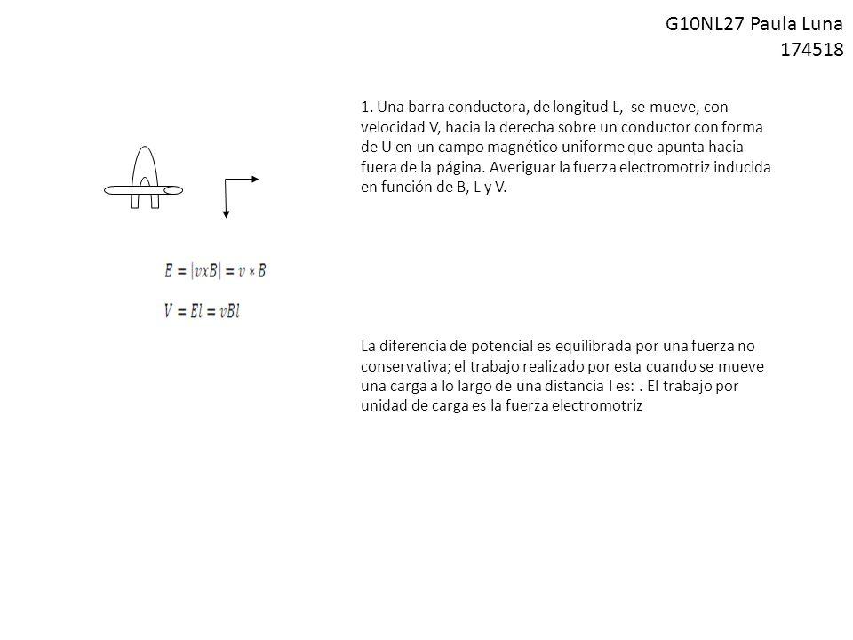 1. Una barra conductora, de longitud L, se mueve, con velocidad V, hacia la derecha sobre un conductor con forma de U en un campo magnético uniforme q