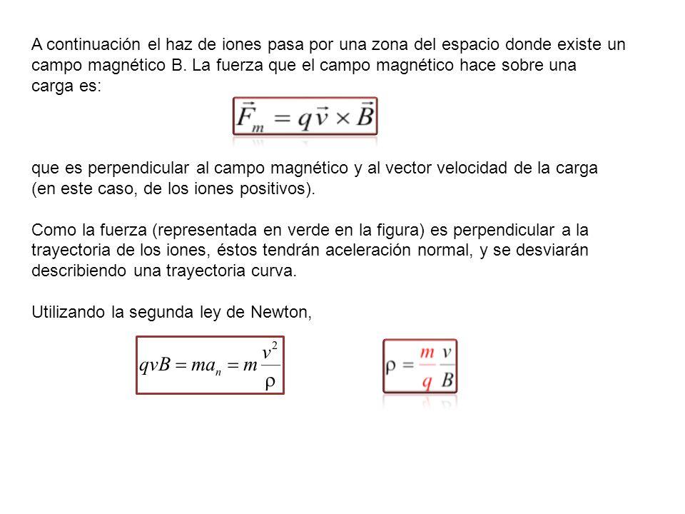 Para un valor fijo de la velocidad y del módulo del campo magnético, cuanto menor sea el cociente m/q menor será el radio de curvatura ρ de la trayectoria descrita por los iones, y por tanto su trayectoria se deflactará más.
