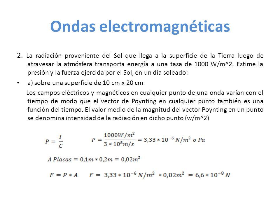 Ondas electromagnéticas 2. La radiación proveniente del Sol que llega a la superficie de la Tierra luego de atravesar la atmósfera transporta energía